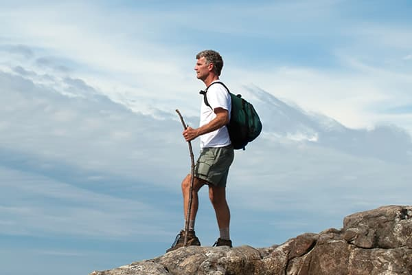 Man hiking in Syracuse, NY